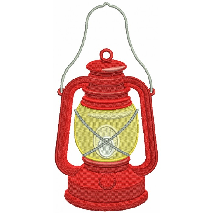Camping Lantern Filled Machine Embroidery Design Digitized Pattern