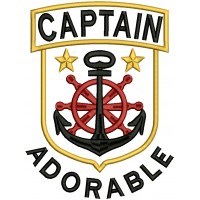 Captain Adorable Nautical Anchor Applique Machine Embroidery Design Digitized Pattern