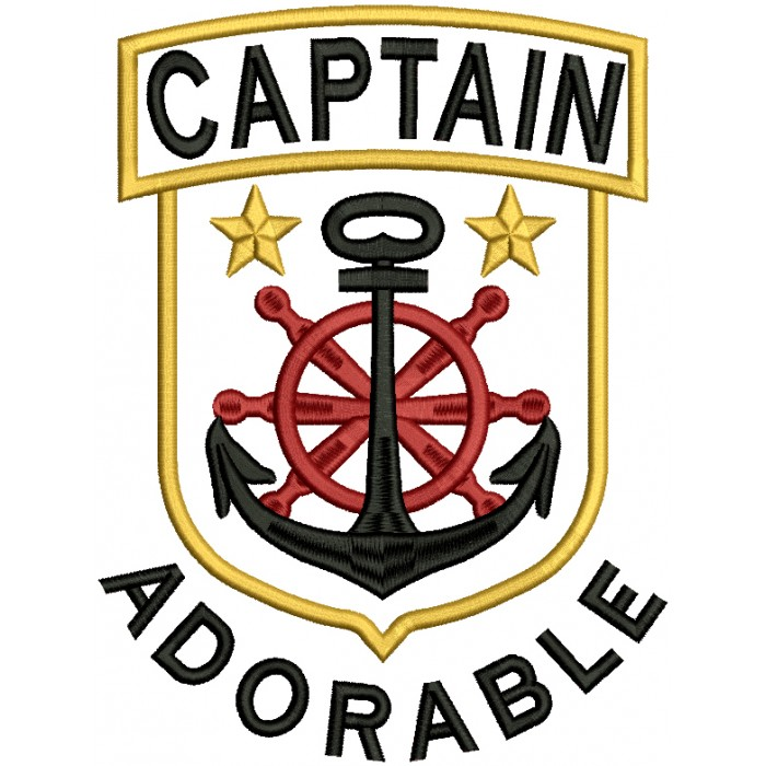 Captain Adorable Nautical Anchor Filled Machine Embroidery Design Digitized Pattern