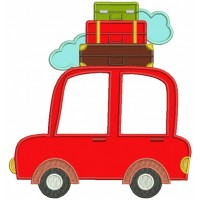 Car With Suitcases on top Applique Machine Embroidery Design Digitized Pattern