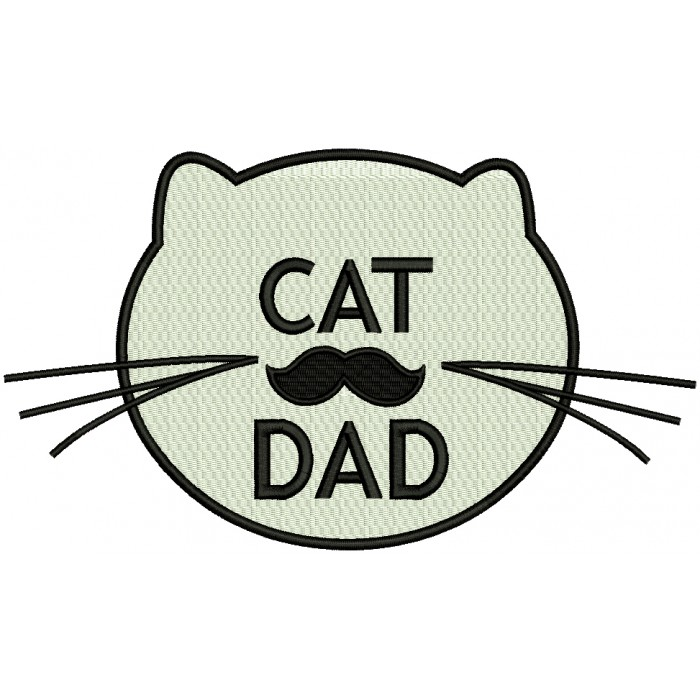 Cat Dad Filled Machine Embroidery Design Digitized Pattern