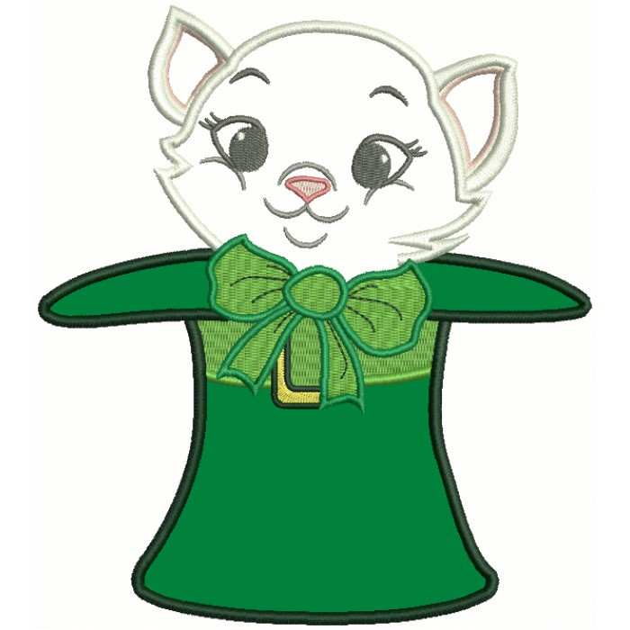Cat Inside Big Hat St. Patrick's Day Applique Machine Embroidery Design Digitized Pattern