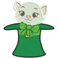 Cat Inside Big Hat St. Patrick's Day Filled Machine Embroidery Design Digitized Pattern