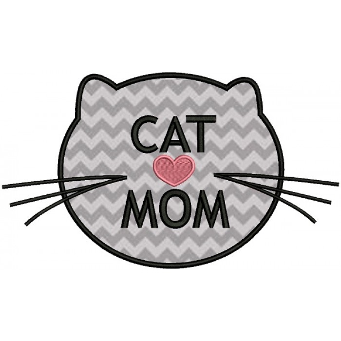 Cat Mom Applique  Machine Embroidery Design Digitized Pattern