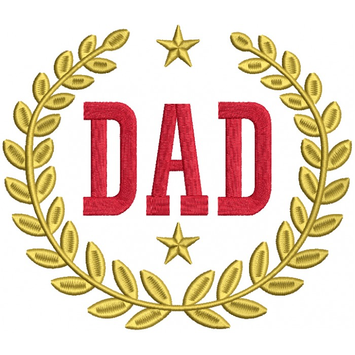 Champion Dad With Golden Stars Filled Machine Embroidery Design Digitized Pattern
