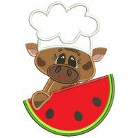 Chef Cow With a Watermelon Applique Machine Embroidery Design Digitized Pattern