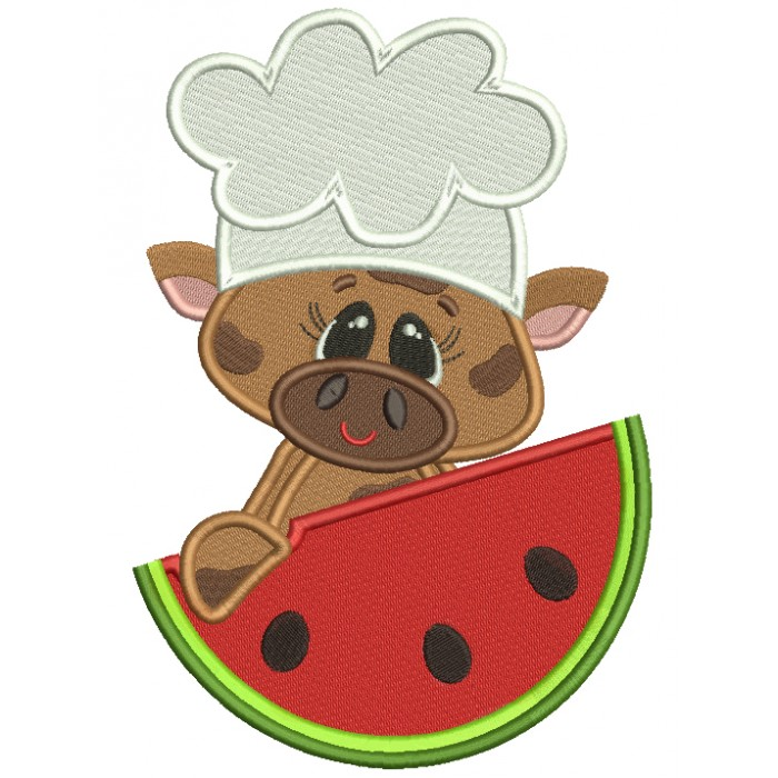 Chef Cow With a Watermelon Filled Machine Embroidery Design Digitized Pattern