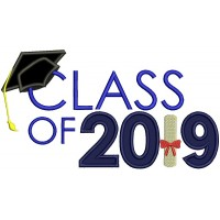 Class Of 2019 School Graduation Applique Machine Embroidery Design Digitized Pattern