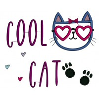 Cool Cat Feet Applique Machine Embroidery Design Digitized Pattern