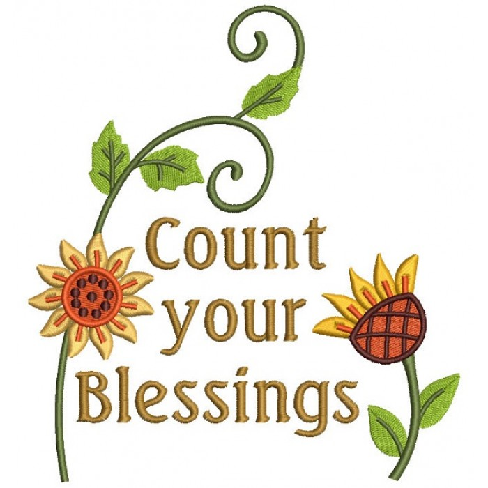 Count Your Blessings Thanksgiving Filled Machine Embroidery Design Digitized Pattern