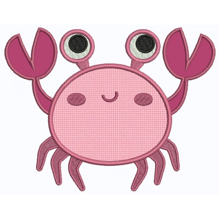 Crabby Crab Applique Machine Embroidery Design Digitized Pattern