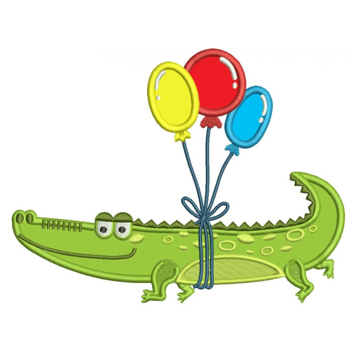 Crocodile With Baloons Applique Machine Embroidery Design Digitized Pattern