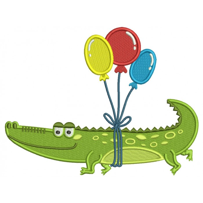 Crocodile With Baloons Filled Machine Embroidery Design Digitized Pattern