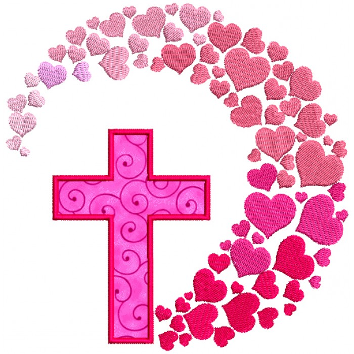 Cross And Hearts Applique Machine Embroidery Design Digitized Pattern