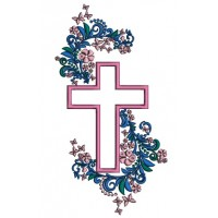 Cross With Beautiful Ornamental Flowers Applique Machine Embroidery Design Digitized Pattern