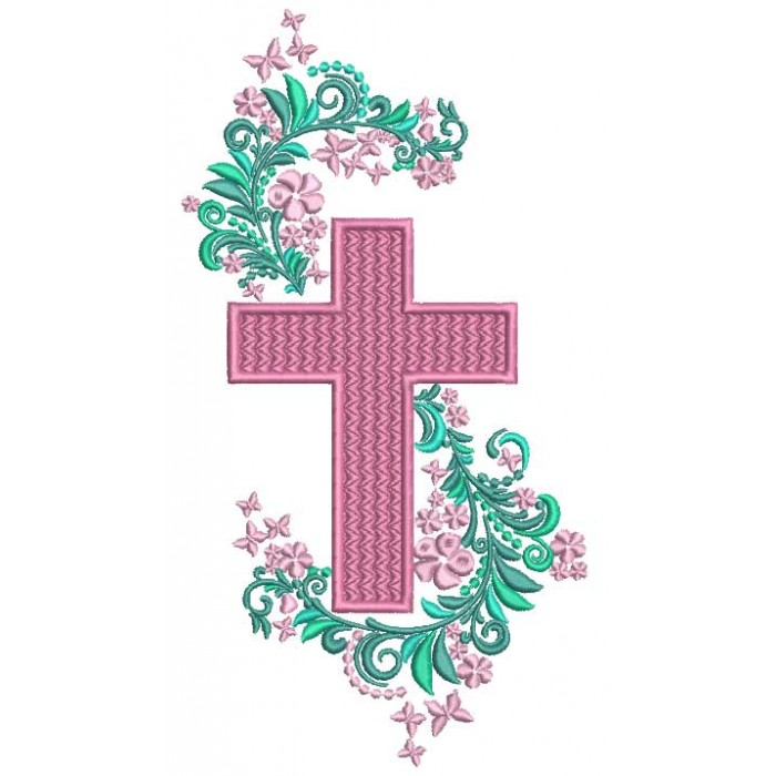 Cross With Beautiful Ornamental Flowers Filled Machine Embroidery Design Digitized Pattern