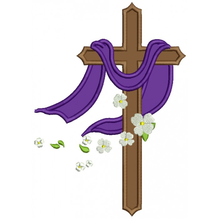 Cross With Daisies Religious Applique Machine Embroidery Design Digitized Pattern