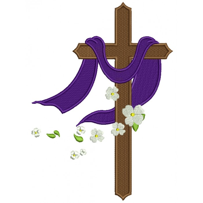 Cross With Daisies Religious Filled Machine Embroidery Design Digitized Pattern