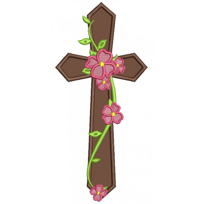 Cross With Flowers and Vines Religious Applique Machine Embroidery Design Digitized Pattern