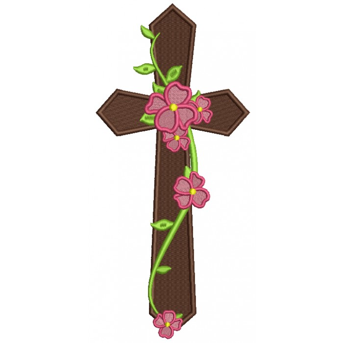 Cross With Flowers and Vines Religious Filled Machine Embroidery Design Digitized Pattern
