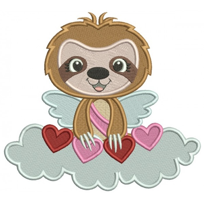 Cute Angel Sloth On The Cloud With Hearts Filled Valentine's Day Machine Embroidery Design Digitized Pattern