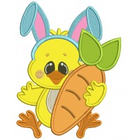 Cute Chick Wearing Bunny Ears Holding a Big Carrot Easter Applique Machine Embroidery Design Digitized Pattern