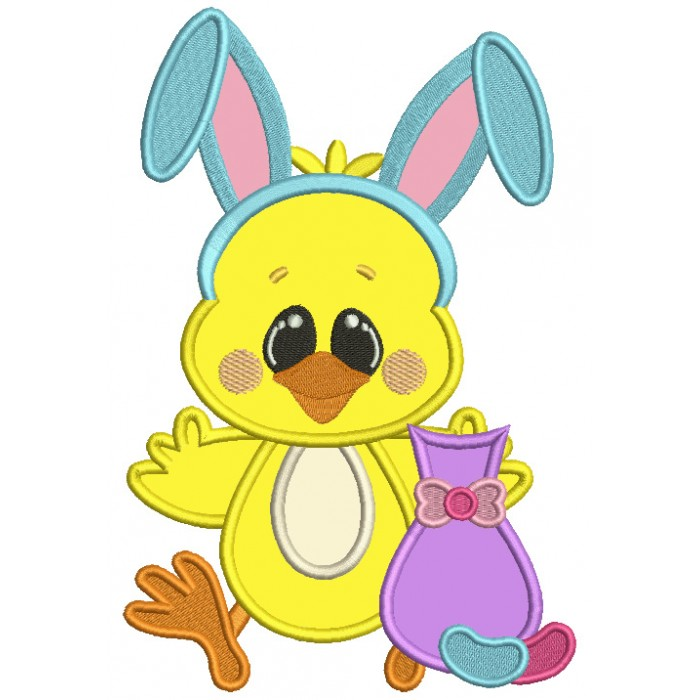 Cute Chick Wearing Bunny Ears Holding a Little Cat Easter Applique Machine Embroidery Design Digitized Pattern