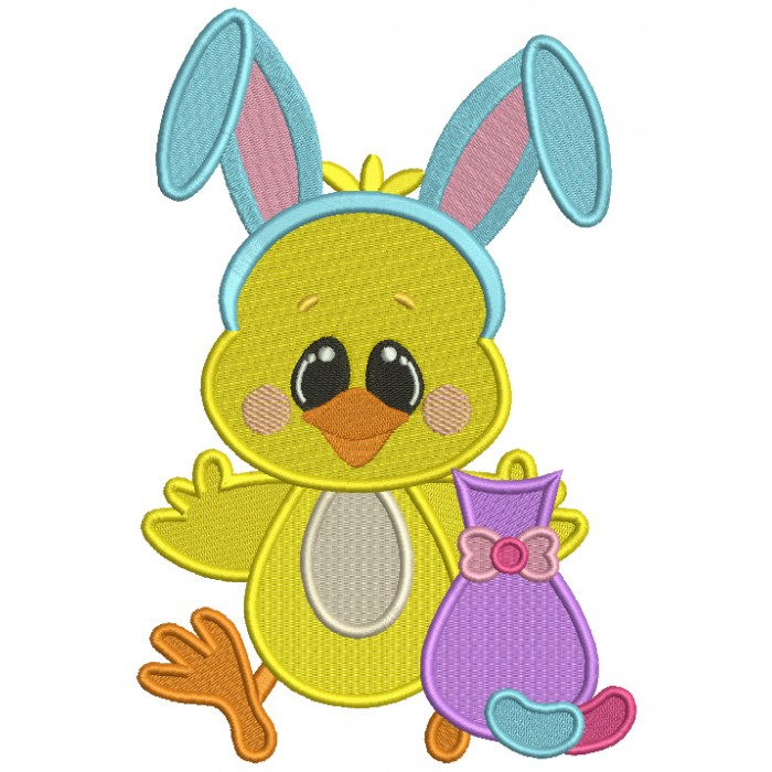 Cute Chick Wearing Bunny Ears Holding a Little Cat Easter Filled Machine Embroidery Design Digitized Pattern