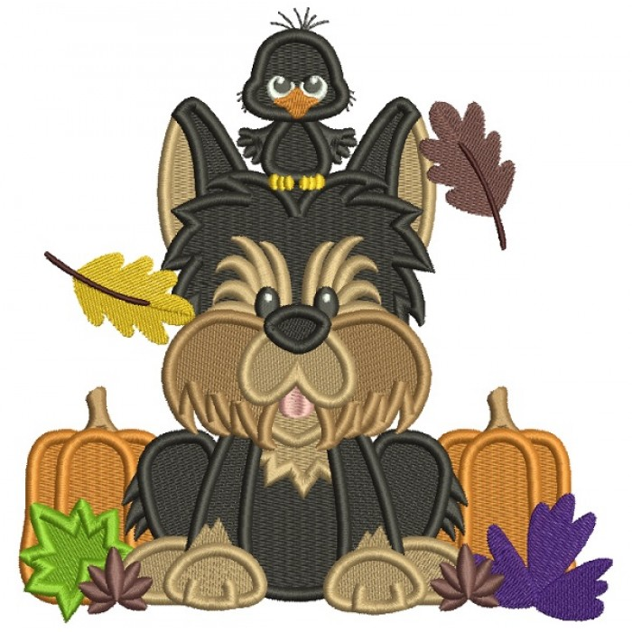 Cute Dog With a Bird Halloween Filled Machine Embroidery Design Digitized Pattern