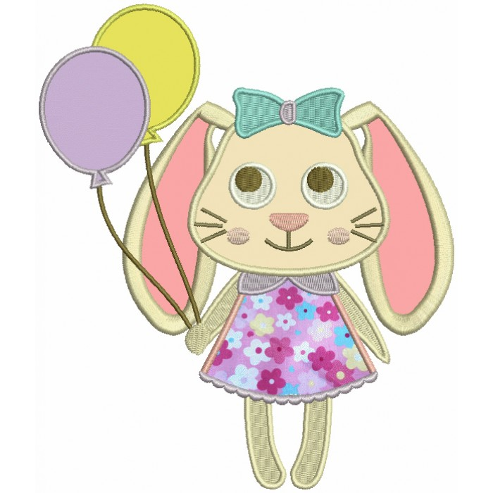 Cute Easter Bunny Holding Balloons Applique Machine Embroidery Design Digitized Pattern
