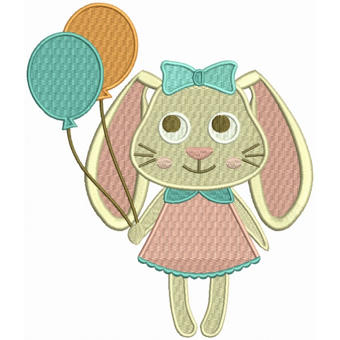 Cute Easter Bunny Holding Balloons Filled Machine Embroidery Design Digitized Pattern
