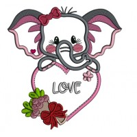 Cute Elephant Holding Big Heart With Flowers Applique Valentine's Day Machine Embroidery Design Digitized Pattern