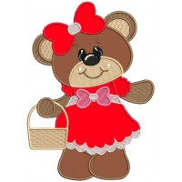 Cute Girl Bear With a Big Bow Applique Machine Embroidery Design Digitized Pattern
