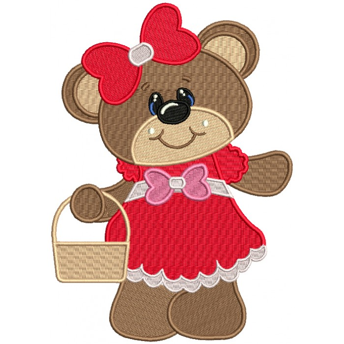 Cute Girl Bear With a Big Bow Filled Machine Embroidery Design Digitized Pattern