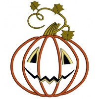 Cute Jack-o-lantern Pumpkin Halloween Applique Machine Embroidery Design Digitized Pattern