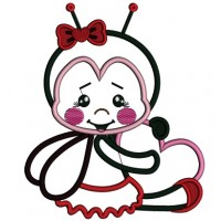Cute Ladybug Holding A Heart Applique Machine Embroidery Design Digitized Pattern