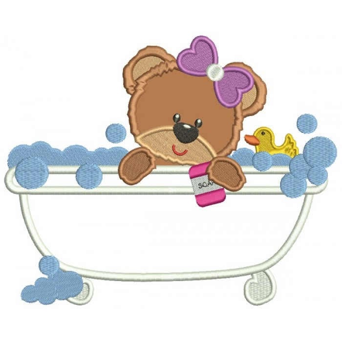 Cute Little Baby Girl Bear In a Bathtub Applique Machine Embroidery Design Digitized Pattern
