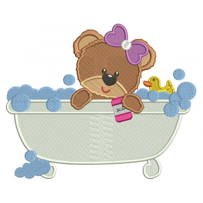Cute Little Baby Girl Bear In a Bathtub Filled Machine Embroidery Design Digitized Pattern