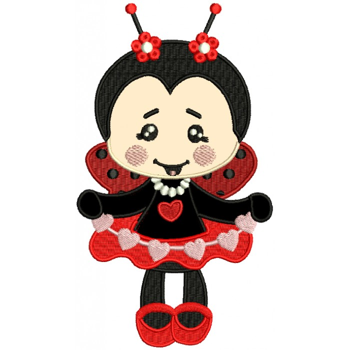 Cute Little Baby Girl Ladybug Applique Machine Embroidery Design Digitized Pattern