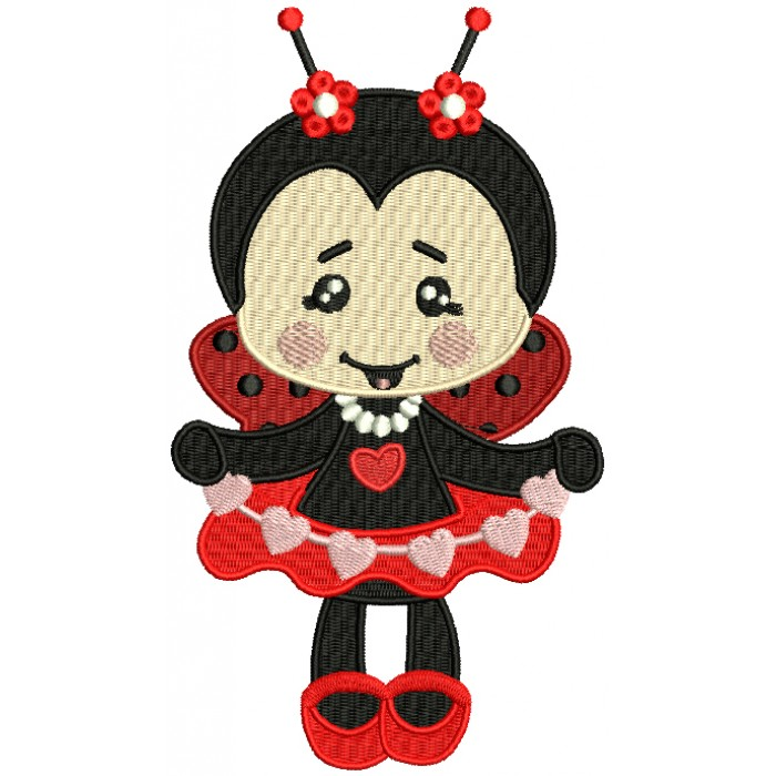 Cute Little Baby Girl Ladybug Filled Machine Embroidery Design Digitized Pattern
