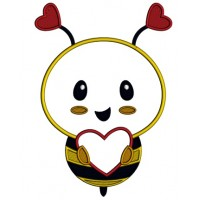 Cute Little Bee With Big Heart Applique Machine Embroidery Design Digitized Pattern