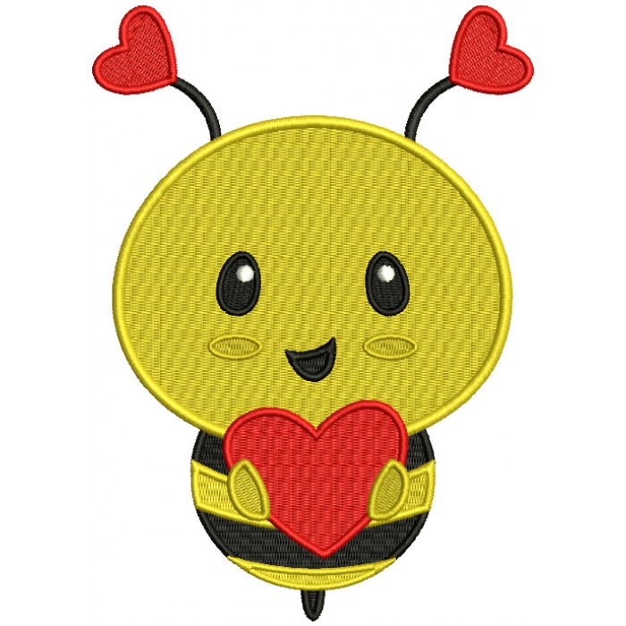 Cute Little Bee With Big Heart Filled Machine Embroidery Design Digitized Pattern