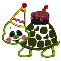 Cute Little Birthday Turtle With Big Birthday Hat Applique Machine Embroidery Design Digitized Pattern
