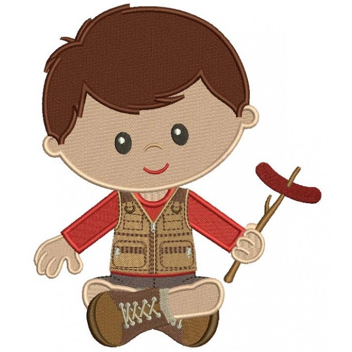 Cute Little Boy Camping Holding Sausage On The Stick Filled Machine Embroidery Design Digitized Pattern