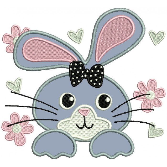 Cute Little Bunny Face With a Bow Applique Machine Embroidery Design Digitized Pattern
