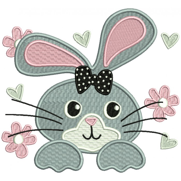Cute Little Bunny Face With a Bow Filled Machine Embroidery Design Digitized Pattern