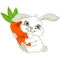 Cute Little Bunny Hugging a Big Carrot Applique Machine Embroidery Design Digitized Pattern