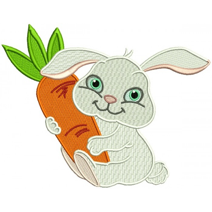 Cute Little Bunny Hugging a Big Carrot Filled Machine Embroidery Design Digitized Pattern