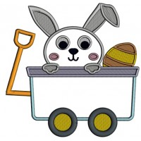 Cute Little Bunny Sitting Inside Wagon With an Easter Egg Applique Machine Embroidery Design Digitized Pattern