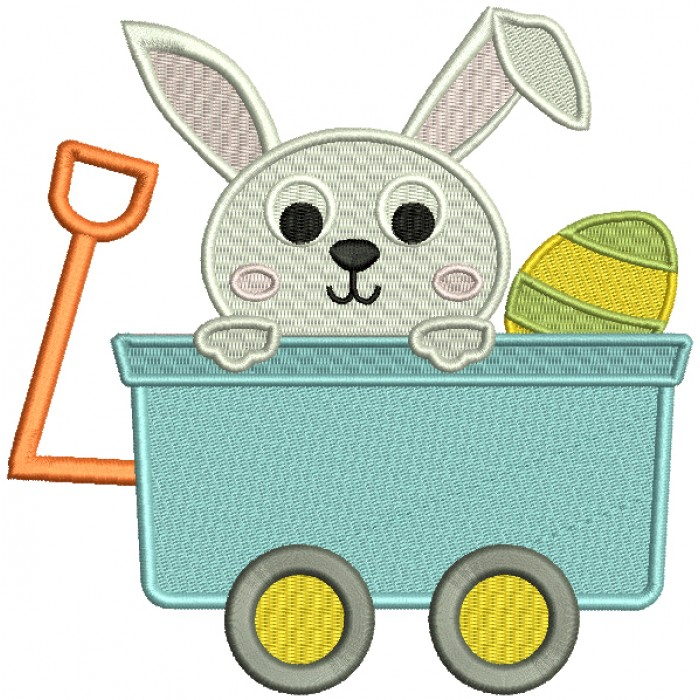 Cute Little Bunny Sitting Inside Wagon With an Easter Egg Filled Machine Embroidery Design Digitized Pattern